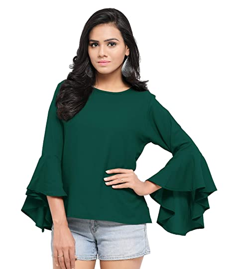 2aa3f391f0460f Serein Women s Top (Green Crepe top with Flute Sleeves)  Amazon.in ...