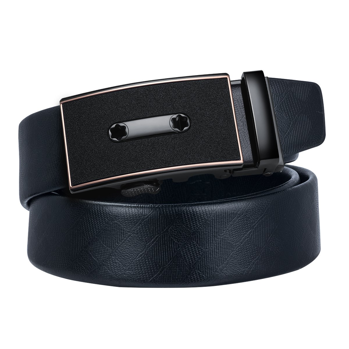 Dubulle Mens Italian Genuine Leather Belt with Removable Buckle Adjustable Automatic Buckle Belt Black Ratchet Belt for Men (DK-0059, waist size 42'' to 48'', belt 55''(150cm))