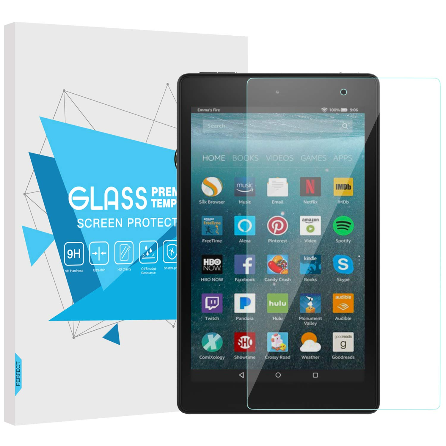 LCD Tempered Glass Screen Protector Film For Amazon Kindle fire 7 HD 8 10 2017