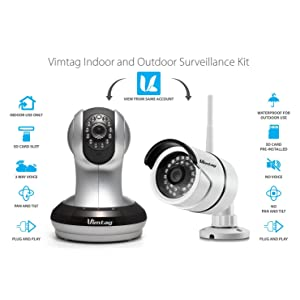 Vimtag 1 Pack Ind & Out Kit Indoor & Outdoor Surveillance Kit