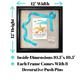 """12x12"""" Display Shadow Box Frame (2-pack) with Linen Background and 16 Stick Pins - Ready To Hang Shadowbox Picture Boxes - Easy to Use - Box Display Case Baby and Sports Memorabilia Wedding Wall"""