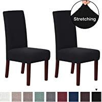 Stretch Removable Washable Chair Covers Solid High Dining Room Chair Protector Home Decor Set of 2 Spandex Dining Chair Protector Cover for Dining Room Set of 2, Black