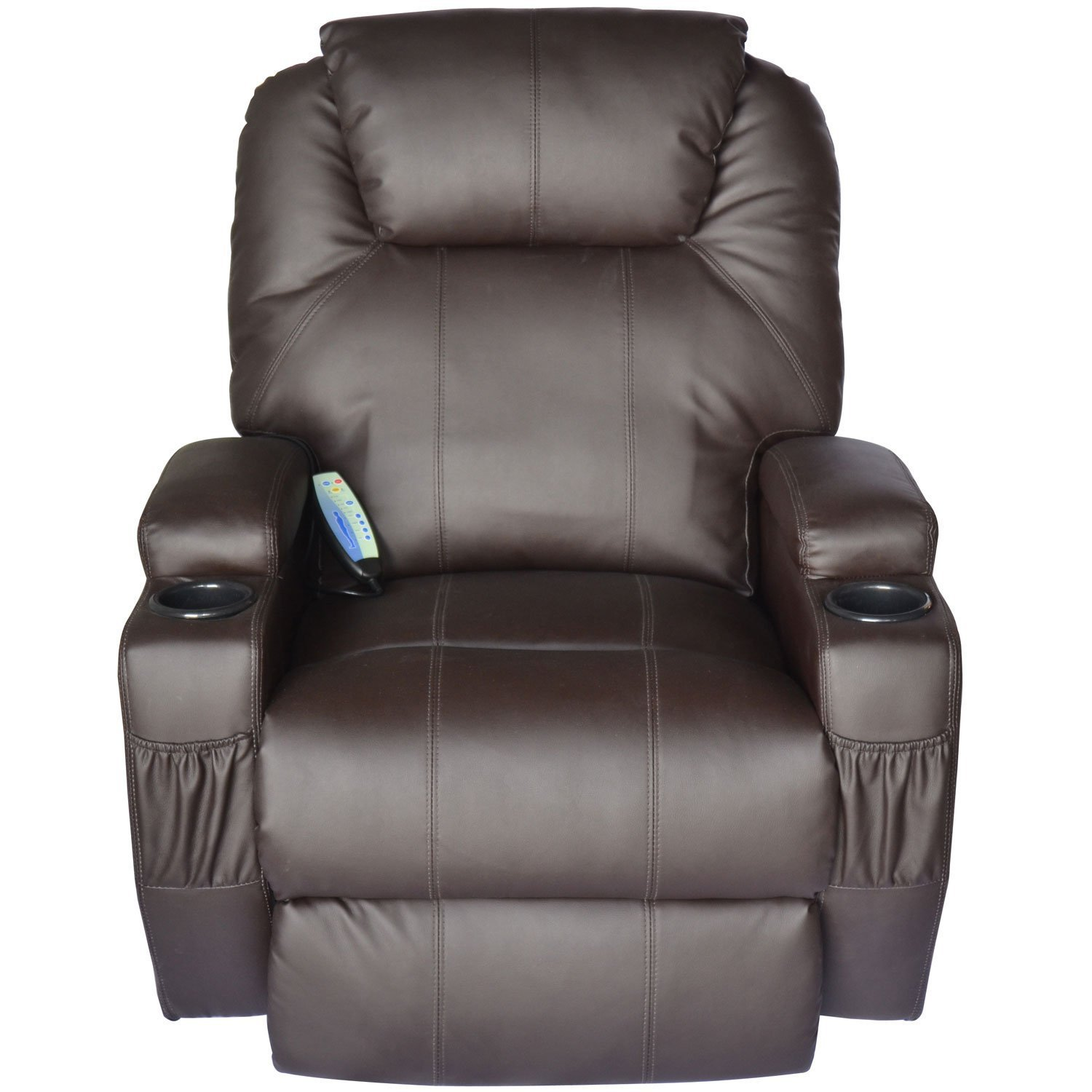 Amazon.com: HomCom Heating Vibrating PU Leather Massage Recliner Chair    Brown: Kitchen U0026 Dining