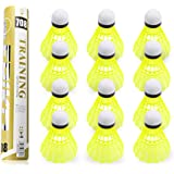 Yokunat 12Pcs Badminton Shuttlecocks Durable Nylon Training Plastic Badminton with Great Stability and Durability for Indoor Outdoor Sports(Yellow)