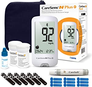 CareSens N Plus Bluetooth Blood Diabetes Monitoring Kit (Auto Coding) - 1 Glucose Meter with 100 Glucose Test Strips, 1 Control Solution, 1 Lancing Device, 100 Lancets, 1 Case, 2 Batteries