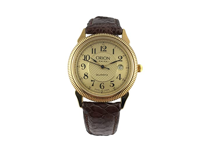 Reloj Suiza Orion, clásico, chapado en oro, pulsera piel marrón: Amazon.es: Relojes