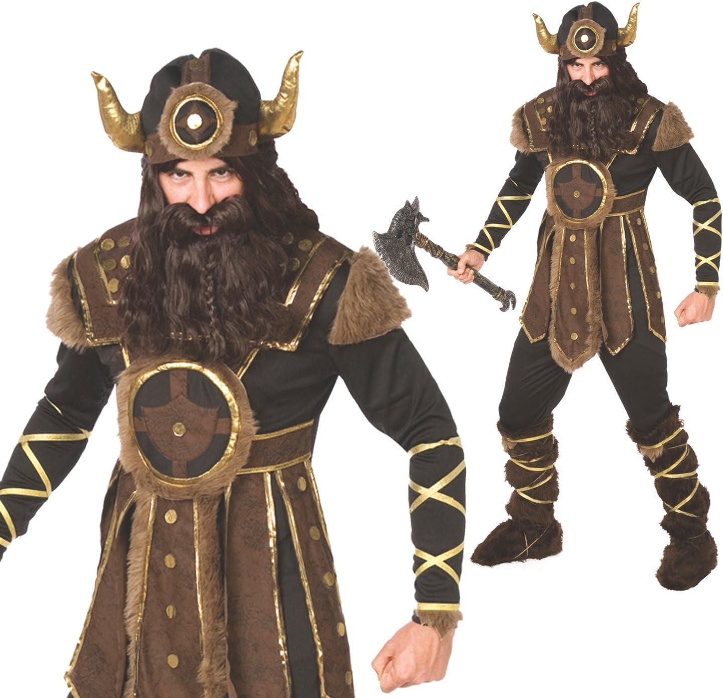 Morph Traje Vikingo para Hombre Traje hist/órico de Calidad para Guerrero n/órdico Valiente para Hombres 42-44 Pulgadas // 107-112 cm Pecho Grande