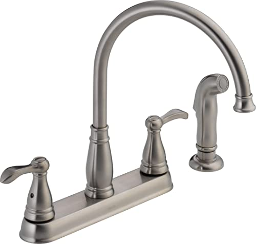 Delta Faucet 21984LF-SS Porter Two Handle Kitchen Faucet with Spray, Stainless