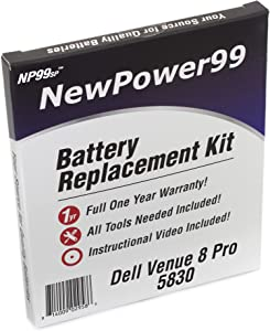 Battery Kit with Battery, Video and Tools for Dell Venue 8 Pro 5830 from NewPower99