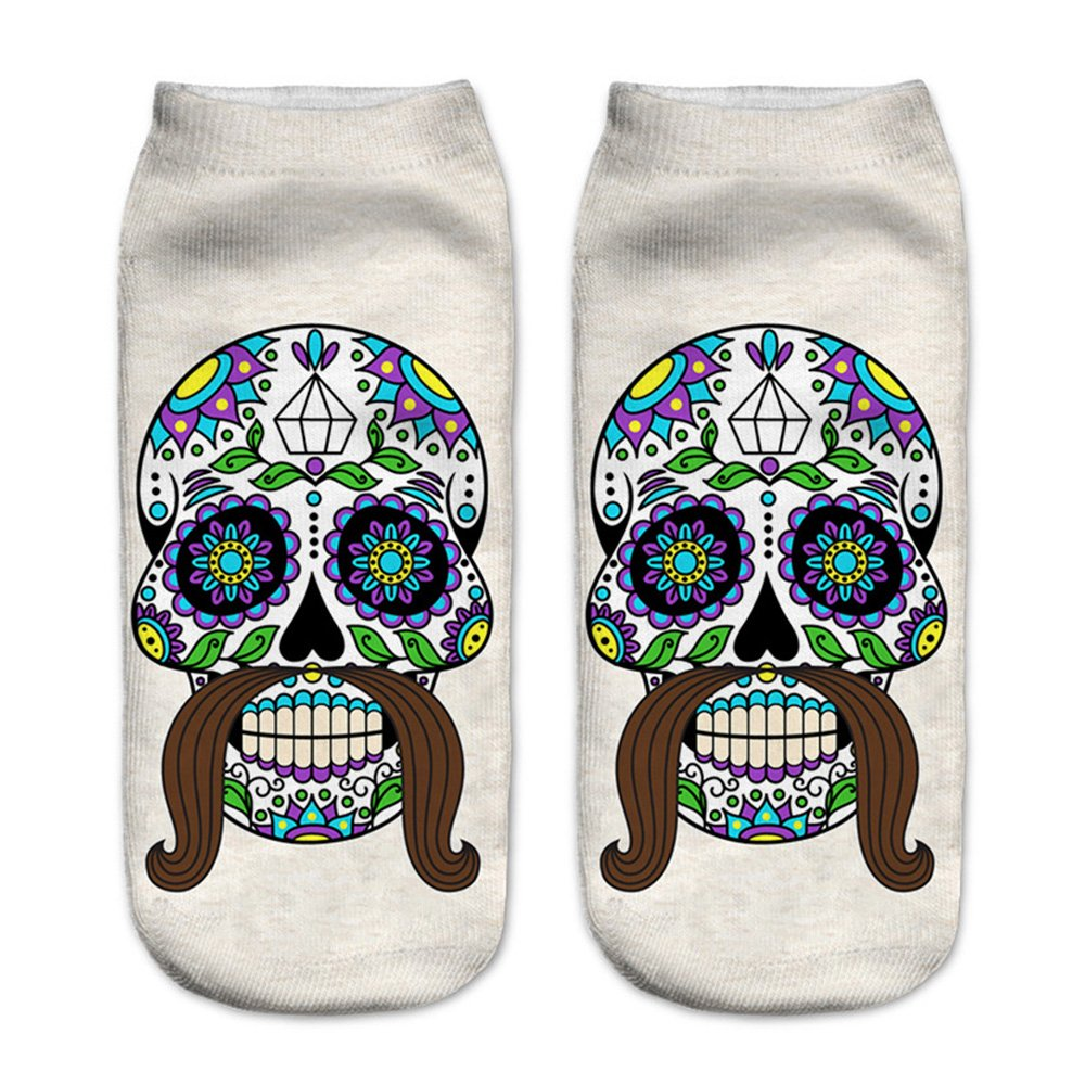 Women's 3D Cartoon Print Funny Smiley Casual Crazy Novelty Ankle Socks Value Pack (skull 1) by Footalk (Image #3)
