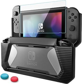 Funda Protector de Pantalla para Nintendo Switch Carcasa de Protección Vidrio Templado Premium Estuche Protector de Caucho Resistente de TPU con amortiguación y antirrayas: Amazon.es: Electrónica