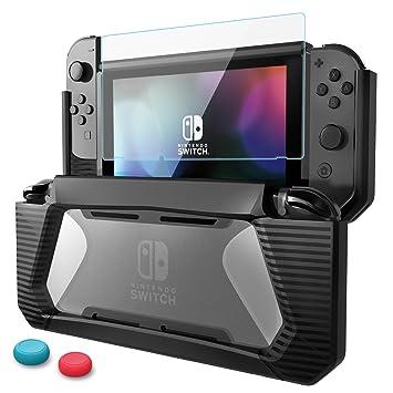 Funda Protector de Pantalla para Nintendo Switch Carcasa de Protección Vidrio Templado Premium Estuche Protector de Caucho Resistente de TPU con ...