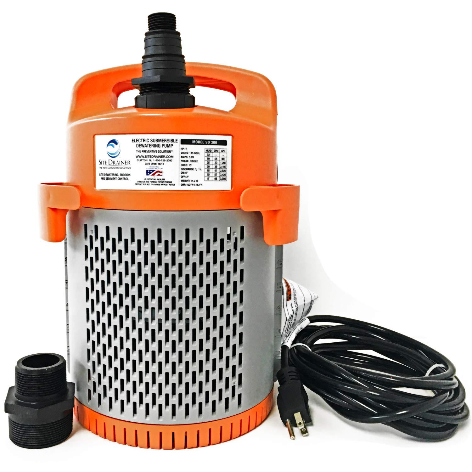 Site Drainer SD 300 1/2 HP Fully Submersible Non-Clogging Dirty Water Dewatering Pump (SD 300)