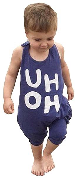 ad2f3d4c596b BANGELY Kids Boy Girl Sleeveless Letters Print Romper Harem Pants Jumpsuit