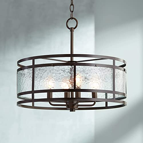 Edinger Oil Rubbed Bronze Round Pendant Chandelier 20 Wide Rustic Industrial Clear Waterglass 4-Light Fixture for Dining Room House Foyer Kitchen Island Entryway Bedroom Living Room – Regency Hill