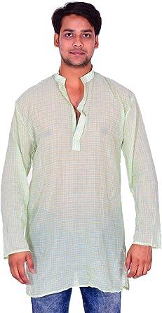 Lakkar Haveli Indian 100/% Cotton Men/'s Shirt Kurta Loose Fit Check Print Multi Color