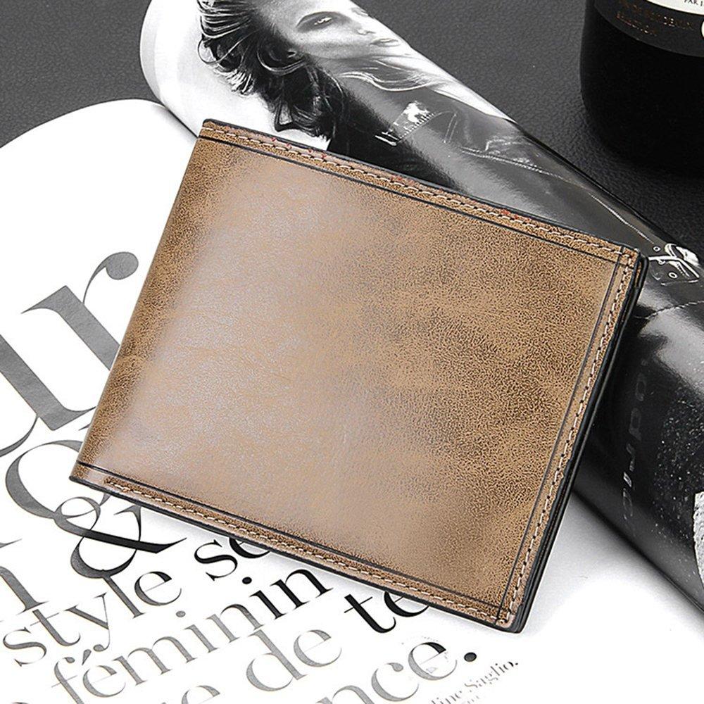 Mens Multi-slot Bill Wallet PU Leather ID Credit Card Photo Holder Bifold