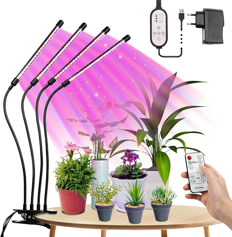 Tasmor Lámpara de Planta, Lámpara LED Cultivo de 4 Cabezales, Espectro Completo con 80 Leds, Luz para Plantas de 4 Modos Regulables 360° Ajuste con Función de Memoria, para Jardín, Bonsái, Balcones