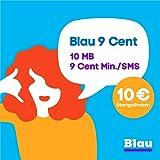Blau 9 Cent (SIM, Micro-SIM und Nano-SIM), ohne Vertragslaufzeit, 10MB/Monat, nur 9 Cent/Min. in alle dt. Netze, 0€/Monat, inkl. 10€ Startguthaben, O2 Netz