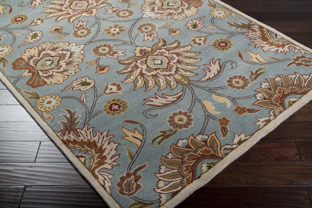Surya Caesar CAE-1052 Classic Hand Tufted 100% Wool Foggy Blue 2'6'' x 8' Traditional Runner by Surya (Image #1)