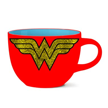 Silver Buffalo WW0224G DC Comics Wonder Woman Logo Glitter Ceramic Soup Mug, 24-ounces Multicolor
