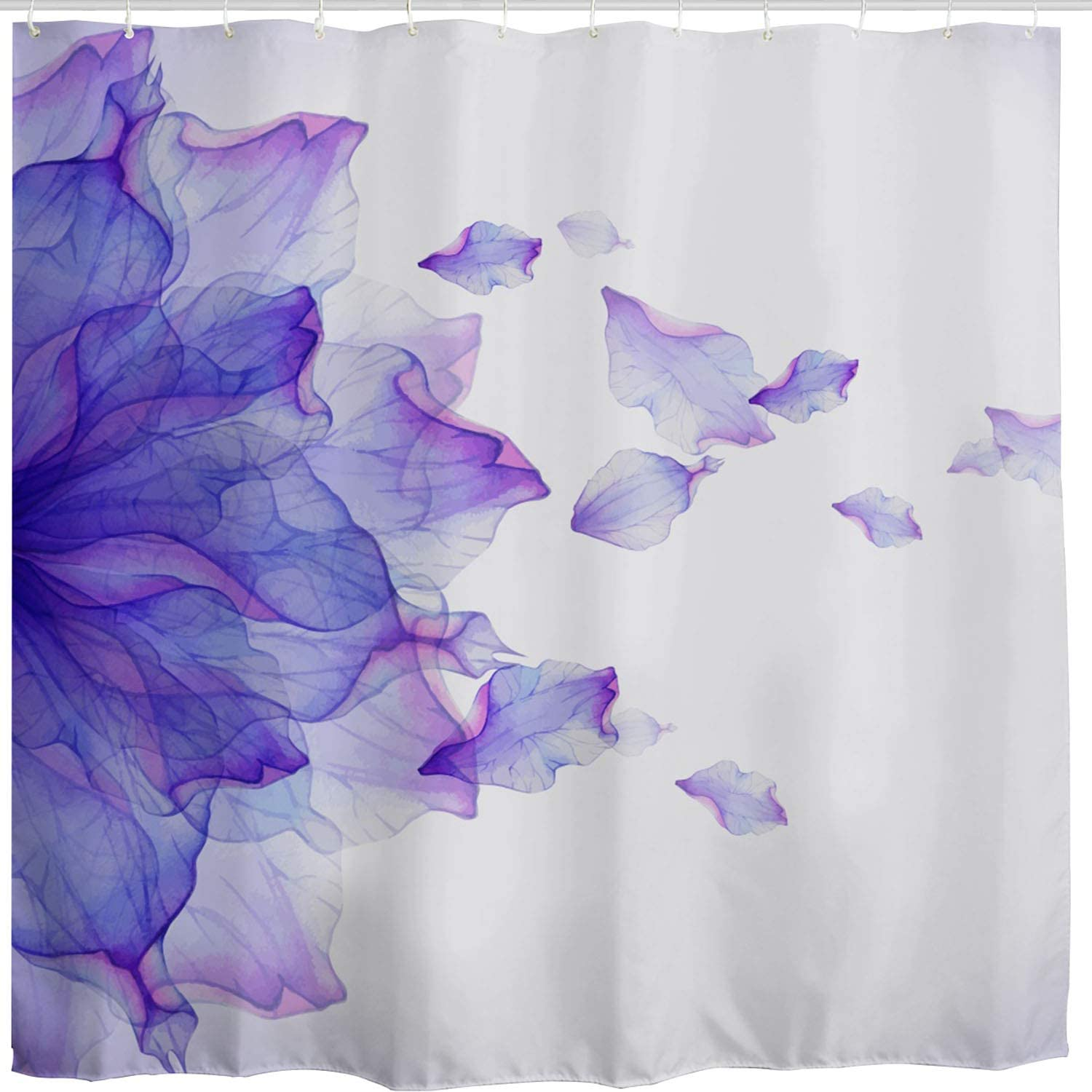 BROSHAN Purple Flower Shower Curtain,Modern Abstract Floral Ombre Petals Beautiful Elegant Nature Scene Art Print Bath Curtain,Polyester Fabric Bathroom Decor Set with Hooks,72x72 inch,White,Purple
