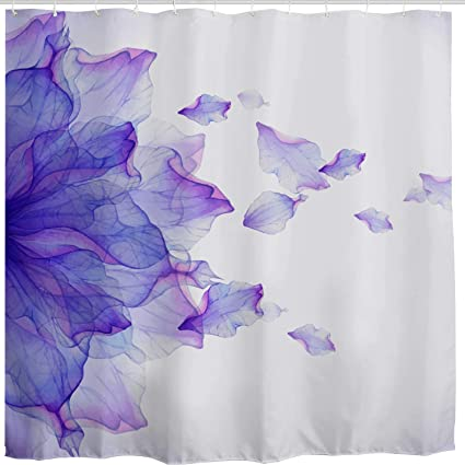 BROSHAN Purple Flower Shower CurtainModern Abstract Floral Ombre Petals Beautiful Elegant Nature Scene Art