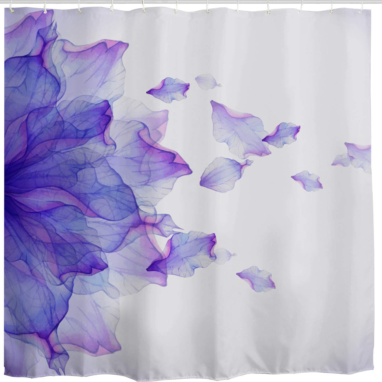BROSHAN Purple Flower Shower Curtain,Modern Abstract Floral Ombre Petals Beautiful Elegant Nature Scene Art Print Bath Curtain,Polyester Fabric Bathroom Decor Set with Hooks,72x72 inch,White,Purple