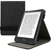 kwmobile Cover for Kobo Clara HD - PU Leather e-Reader Case with Built-in Hand Strap and Stand - Black