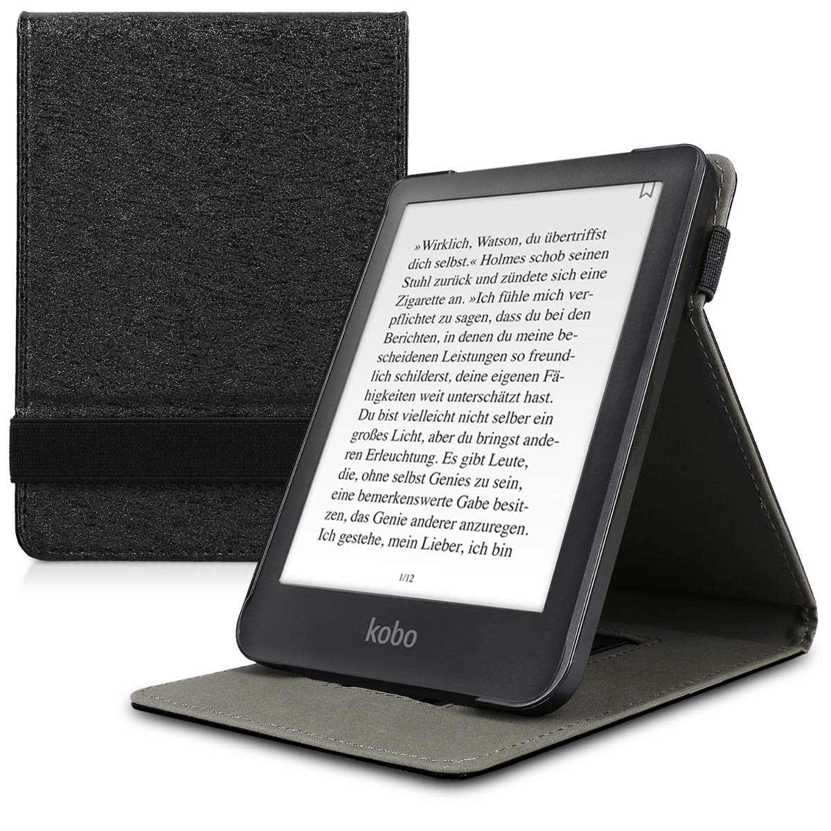 kwmobile Cover for Kobo Clara HD - PU Leather e-Reader Case with Built-in Hand Strap and Stand - Black KW-Commerce 46214.01_m001201