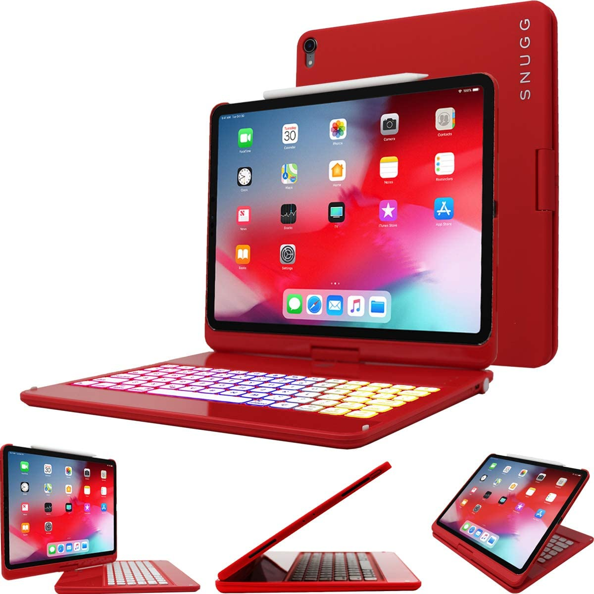 Snugg iPad Pro 12.9 2018 (3rd Gen) Keyboard, Backlit Wireless Bluetooth Keyboard Case Cover 360° Degree Rotatable Keyboard for Apple iPad Pro 12.9 2018 (Apple Pencil Compatible)- Red