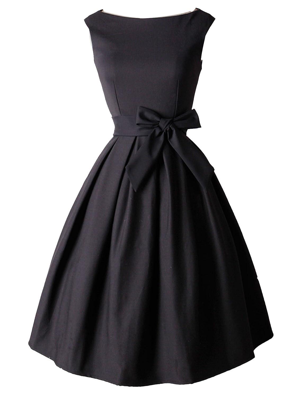 iLover 1950s Rockabilly Mujer Hepburn Vintage Vestido De Cóctel Plisado Pin Up Swing Vestido