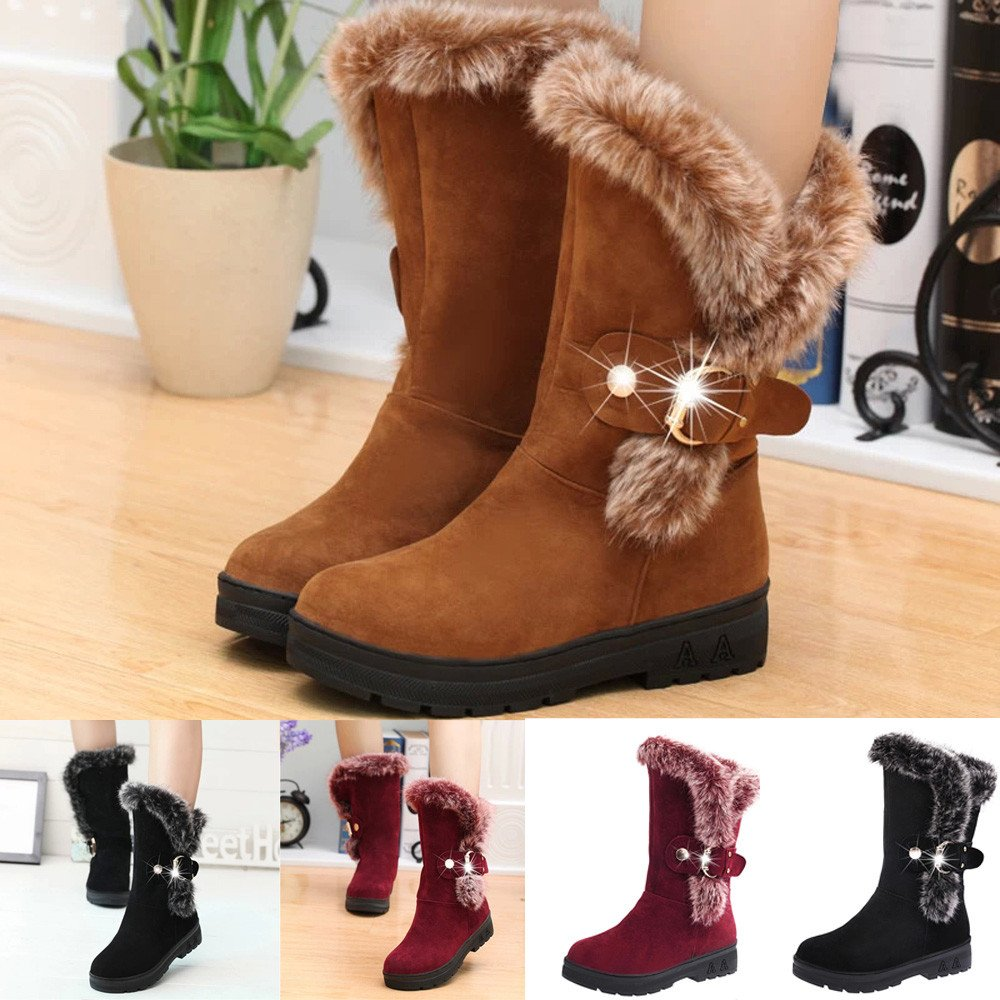 Amazon.com: NDGDA Women Snow Boots Slip-On Soft Boots Ankle Round Toe Flat Winter Boots: Arts, Crafts & Sewing