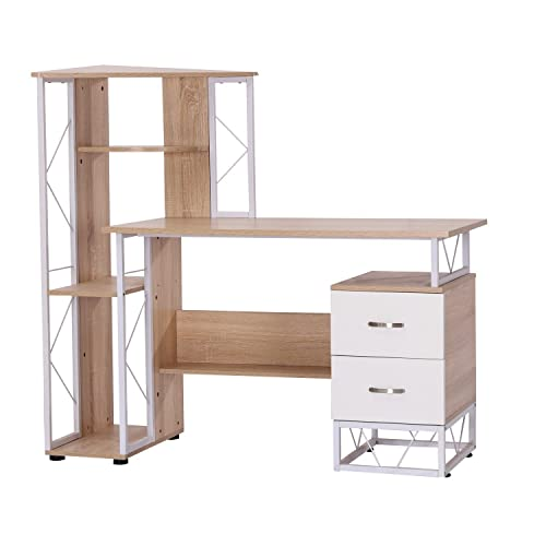 HomCom 52'' Multi Level Tower Office Workstation Computer Desk ✔White and Oak