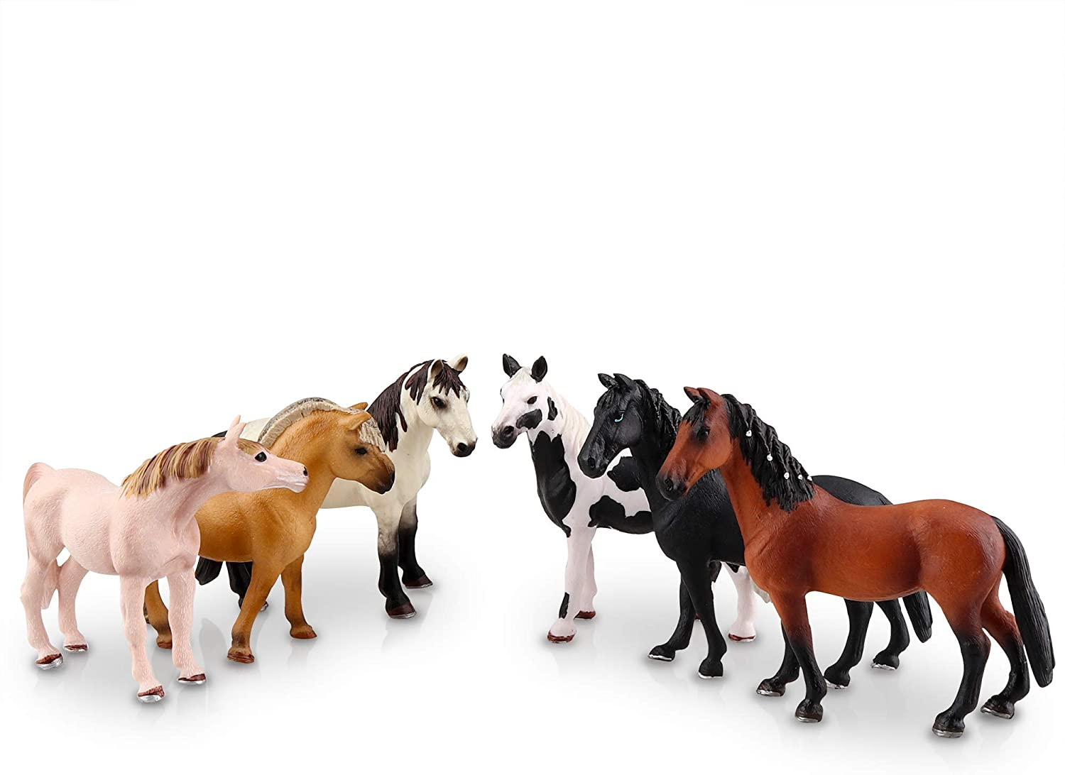 """TOYMANY 9PCS 9"""" Realistic Plastic Large Horse Figurines Set, Detailed  Textures Foal Pony Animal Toy Figures, Christmas Birthday Gift Decoration  for"""