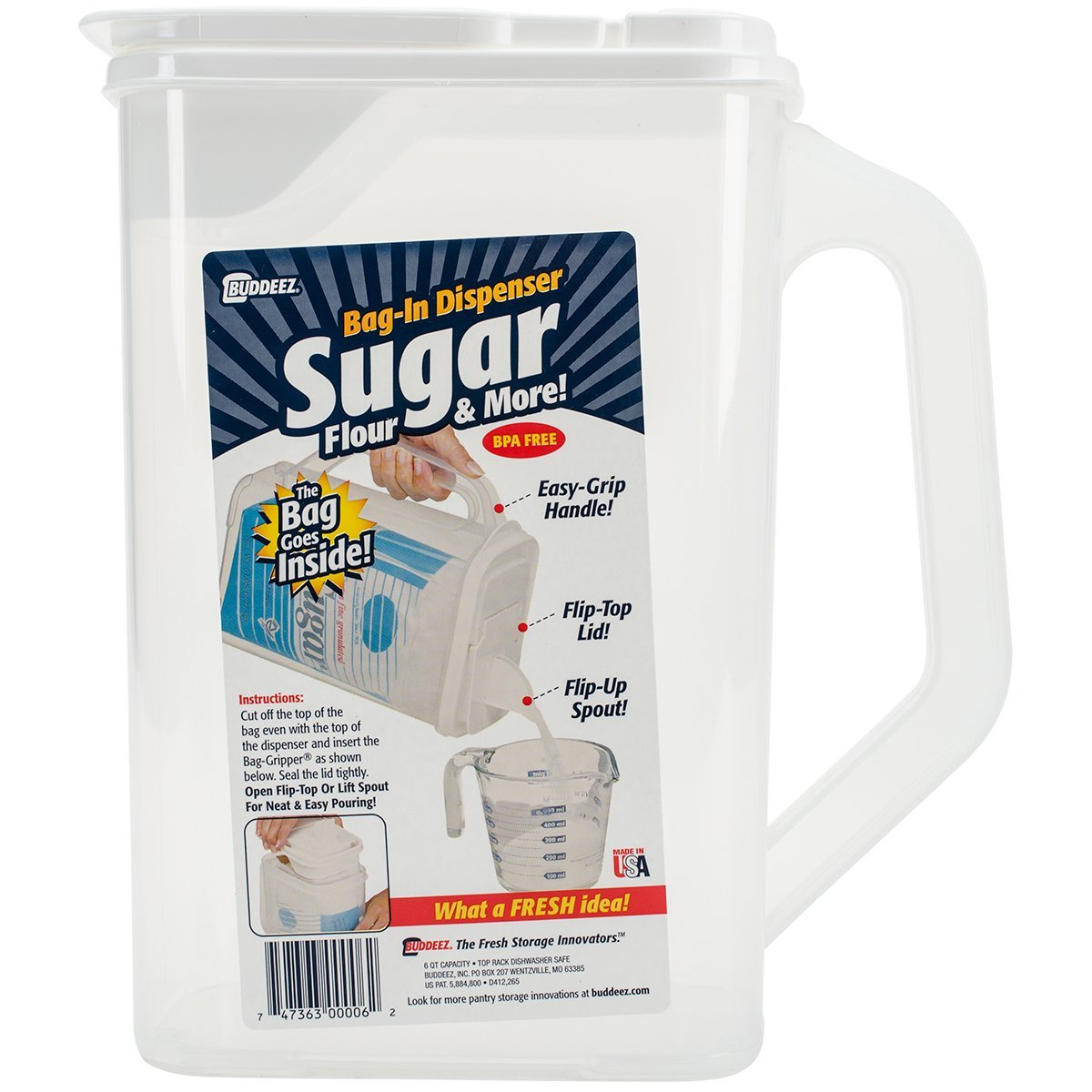 Buddeez Bag in Sugar Dispenser, 10 H x 9 W x 5 D, Clear 606