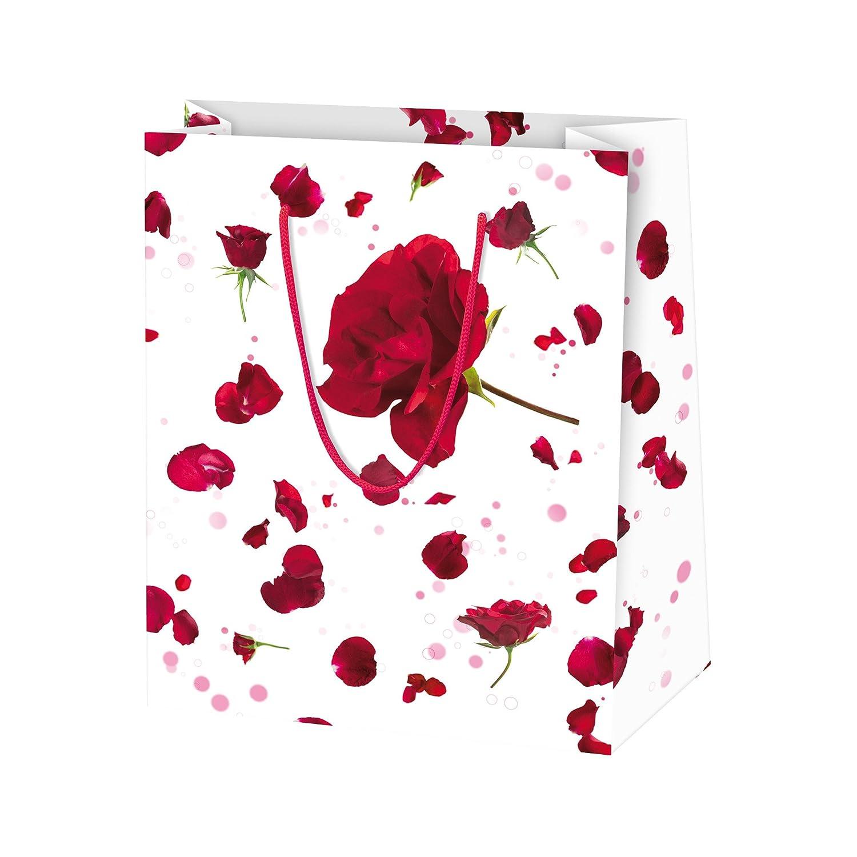 Susy Card 11277662 - Buste regalo, carta lucida, confezione da 10, motivo: bouquet, colore: Rosso Pelikan