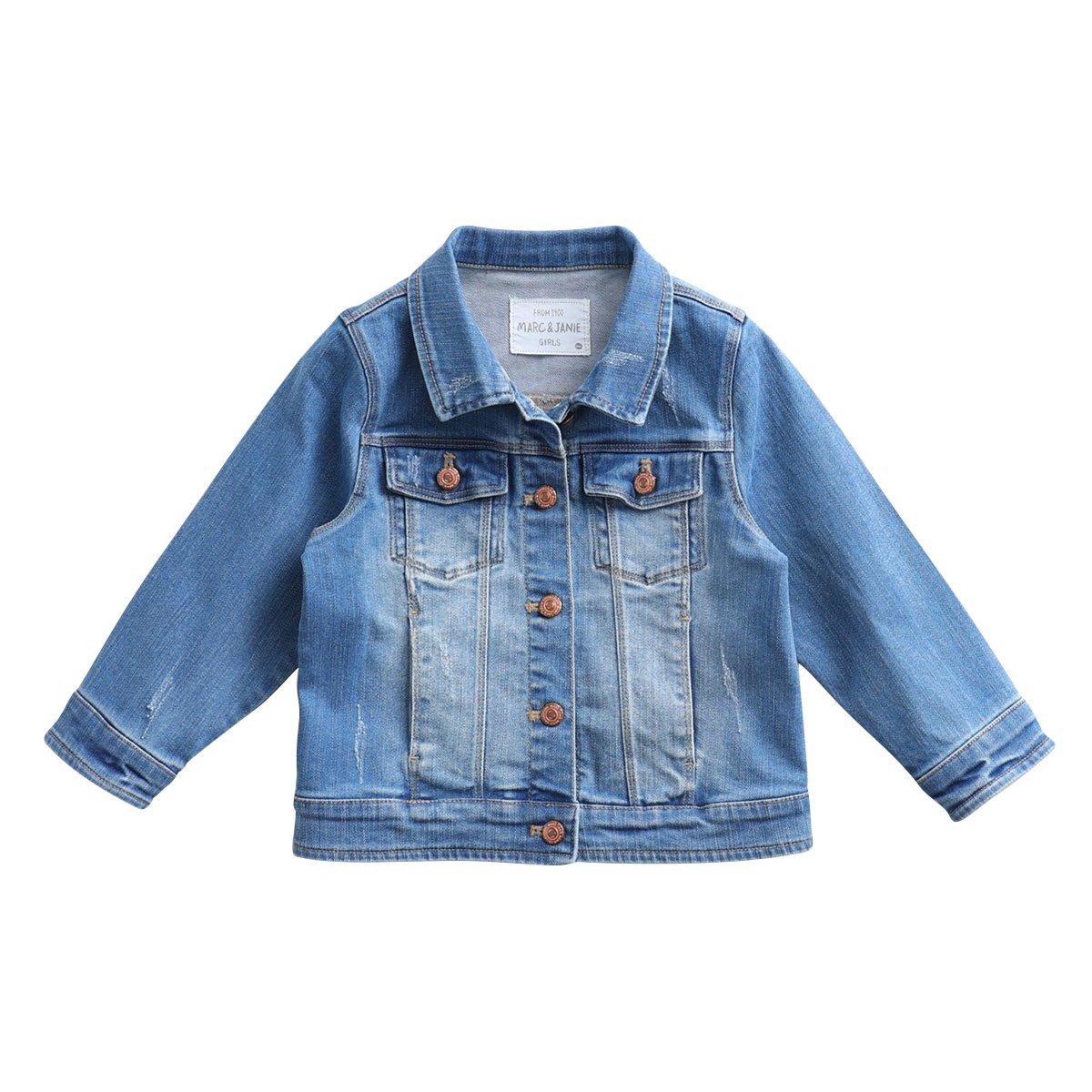 marc janie Baby Toddler Girls' Coat Knit Pre-Washed Denim Jacket Blue 18728 8T (130 cm)
