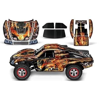 Designer Decal for Traxxas Slash 1/10 (#58034) and Slayer 1/10 (#59074) AMRRACING RC Kit - Firestorm - Black: Toys & Games