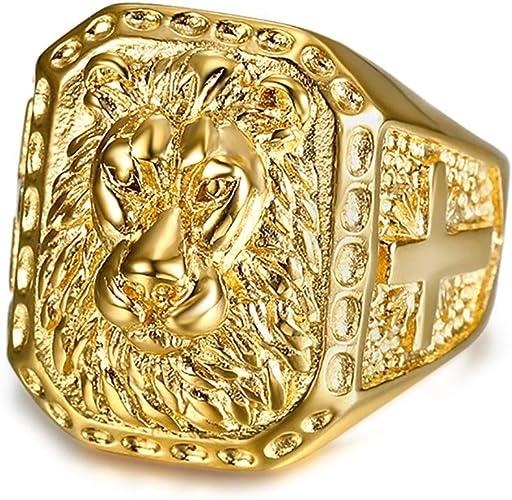 Ring Chevaliere Quadratisch für Männer Vergoldet Neu Größe 68