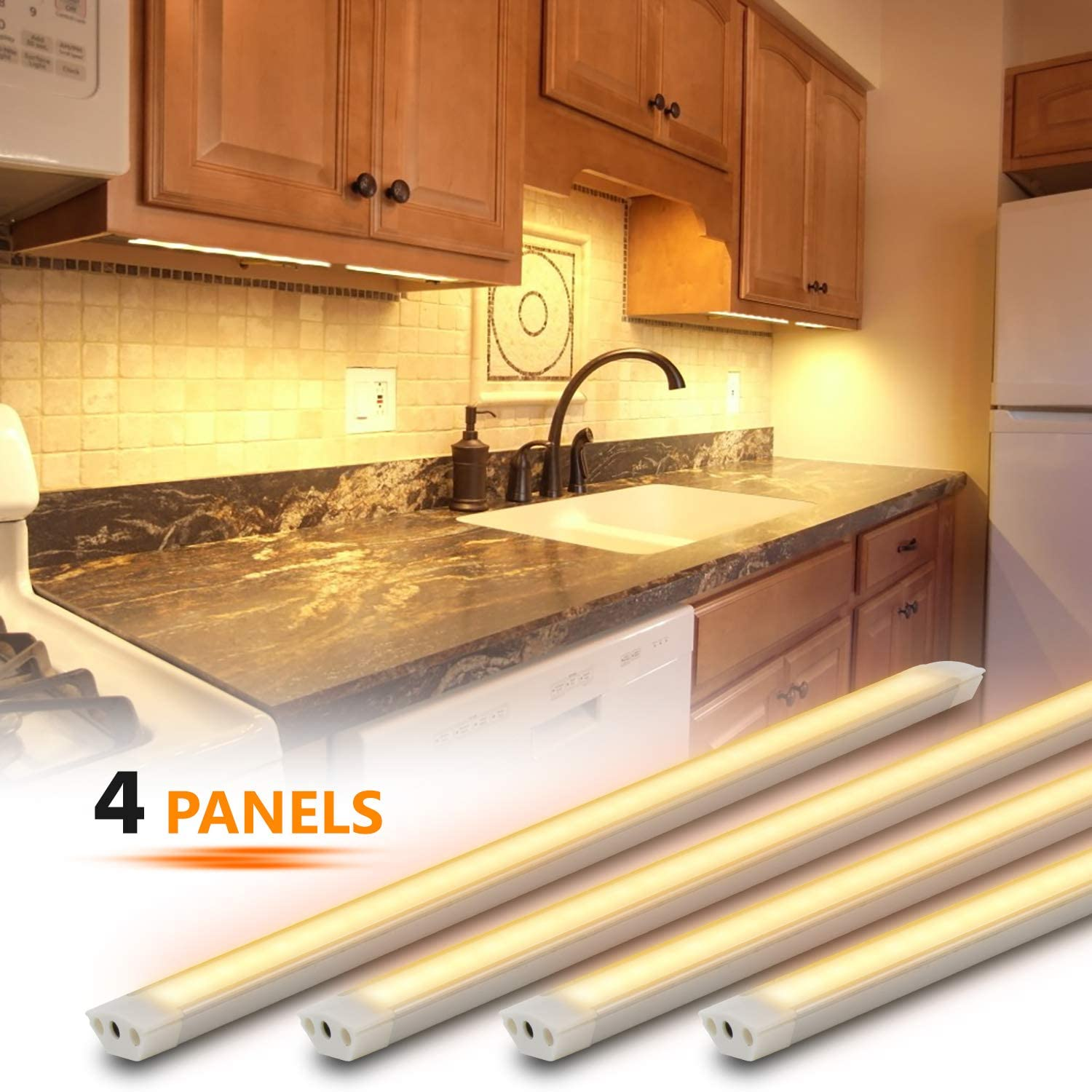 Under Cabinet Lighting Kit, 4pcs 12 Inches Under Counter Lights, 12W 840 Lumens Dimmable LED Kitchen Cabinet Strip Lights, Warm Light(3000K)