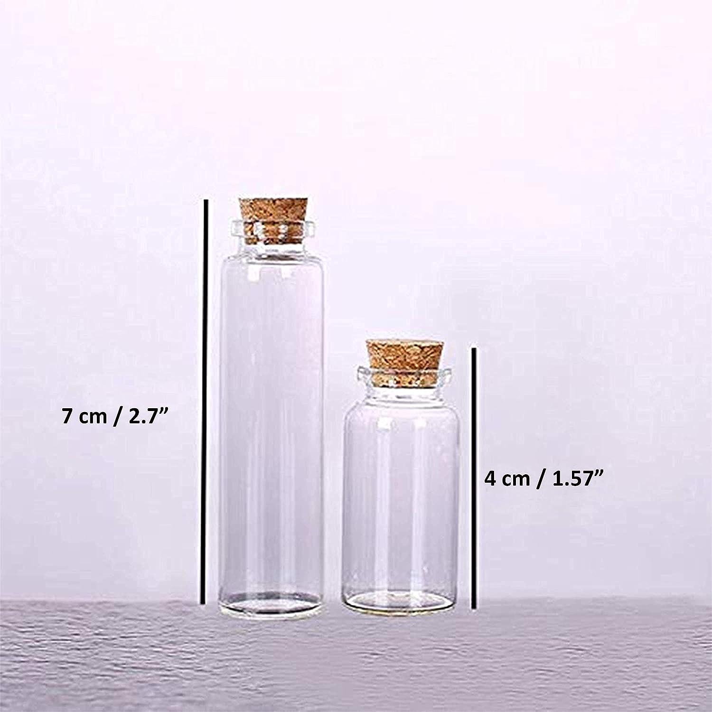 50 Pcs Mini Botellas de Vidrio (25 pequeña, 25 grande) - pequeño Mini botellas de cristal tarros de botella con tapón de corcho - 30 metros Twine and ...