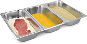 Navaris Breading Trays Set - 3 Medium Stainless Steel Pans for Preparing Bread-Crumb Dishes, Panko, Schnitzel, Coating Fish and Marinating Meat
