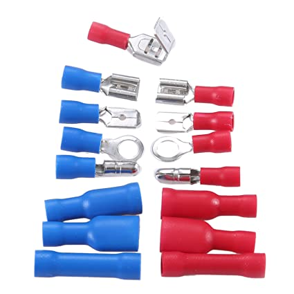 200Pcs Red Blue Assorted Insulated Crimp Terminals Electrical Wiring Connector Kit Case Dreld SZ020180183720RK
