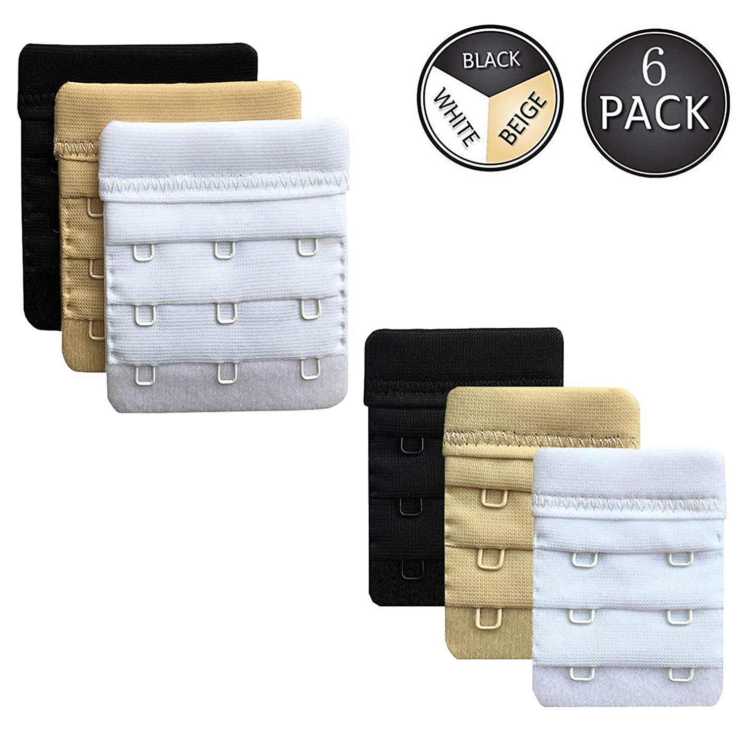 Bra Extender, MisHome 2 Hooks / 3 Hooks Women Bra Extension Strap Band Bra Extenders Pack of 6 (Black, White, Beige)