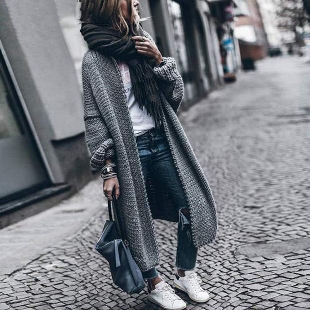 Suelto Celucke Abrigo de Invierno para Mujer su/éter Largo Grueso Chaqueta de Lana s/ólida