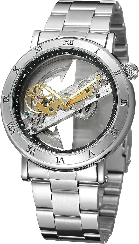 FORSINING Men's Unique Design Luxury Automatic Movt Popular Style Stainless Steel Bracelet Skeleton Watch