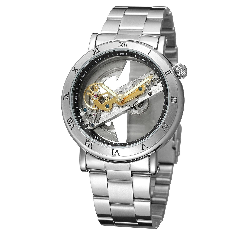 Forsining Reloj de pulsera analógico skeleton de exclusivo diseño de lujo para hombres, movimiento automático, estilo popular, pulsera de acero inoxidable: ...