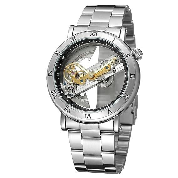 Forsining Reloj de pulsera analógico skeleton de exclusivo diseño de lujo para