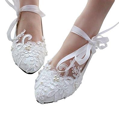 Amazon.com: Tanpell Womenu0027s Princess Appliques Lace Flat Wedding Party Bridal  Shoes: Shoes